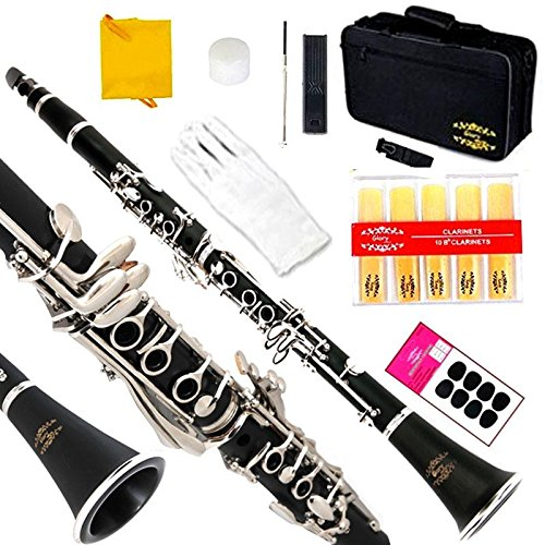 Glory B Flat Black Ebonite Clarinet with 2 Barrels, 11reeds,8 Pads Cushions,case,carekit and More Black/silver Keys