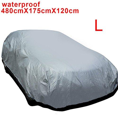 AllRight Auto Abdeckung Autogarage Ganzgarage Abdeckung Abdeckplane Autoplane Wasserdicht UV Sonne Regen Schutz Silber L:480 * 175 * 120CM (L)
