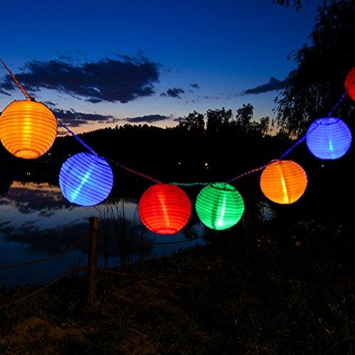 Uping® Led Lichterkette 20er Batterienbetriebene Lampions Laterne für Party, Garten, Beleuchtung Deko multifarbig