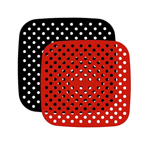 Fodera per friggitrice ad aria, 2 misure in silicone per friggitrice ad aria riutilizzabile, antiaderente per forno a microonde, teglia da forno e teglia da forno per friggitrice ad aria