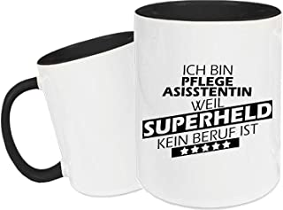 Shirtstown Taza de Cerámica, Taza, Super Héroe para Besten Profesión del Mundo, Colega, Job - Pflegeasisstentin Superheld, 330 ml