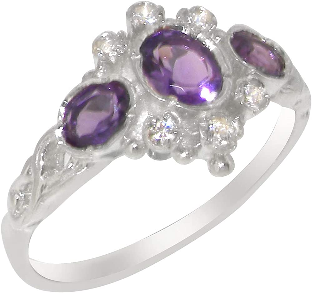 shopping 18k Max 66% OFF White Gold Natural Amethyst Womens Trilogy Zirconia Ri Cubic