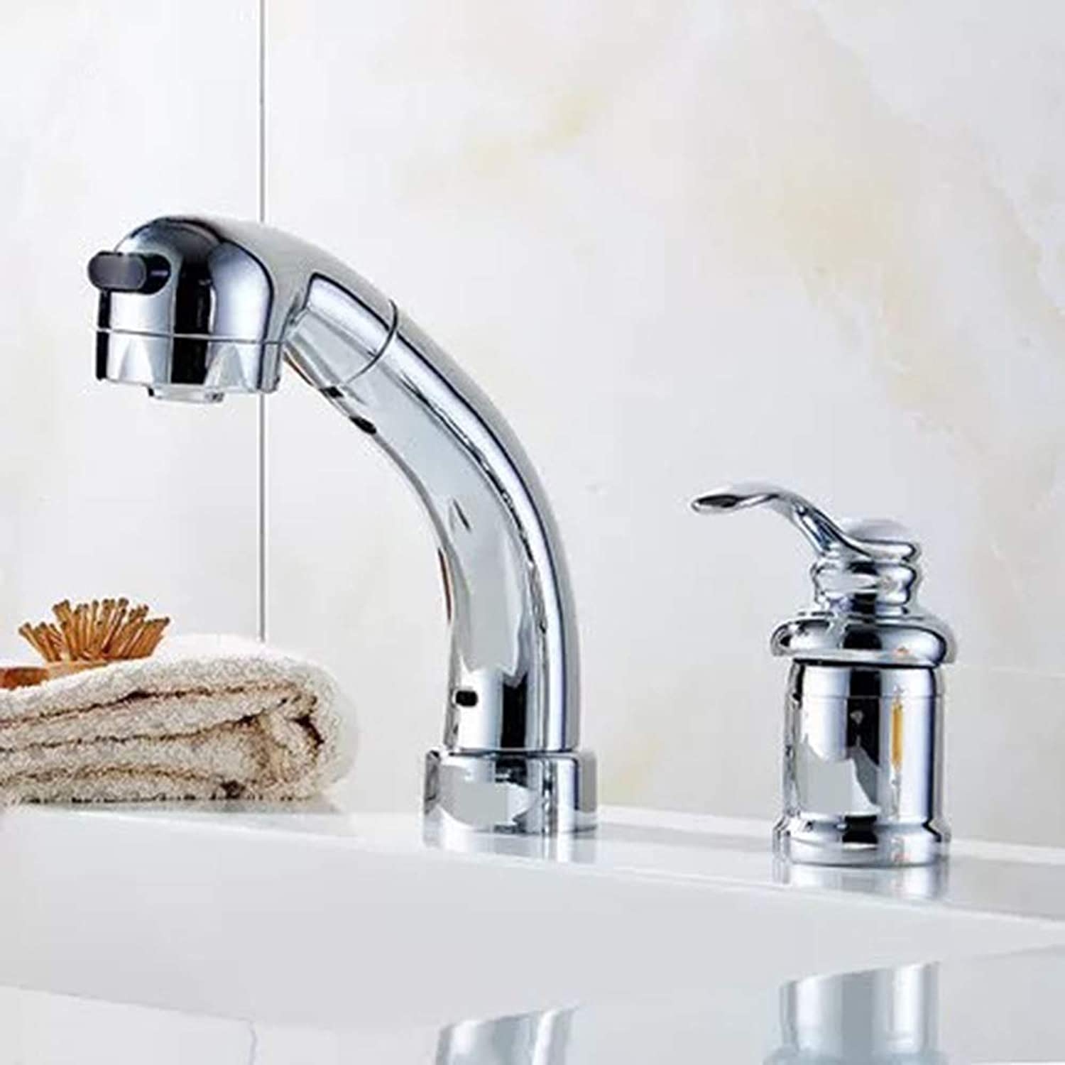AmzGxp Split Double Hole Hot And Cold Faucet Pull Basin Faucet Telescopic Basin Faucet With Nozzle