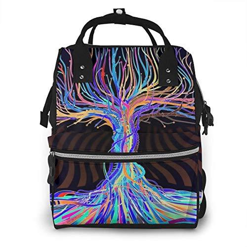 GXGZ Modern Tree Art Diaper Backpack - Élégant sac à couches multifonctionnel grande capacité sac à dos de voyage étanche pour les soins de bébé