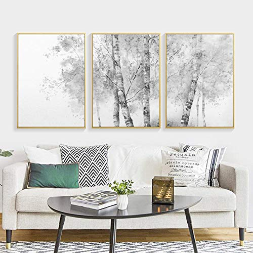 Abstract Painting Trees Black and White Nordic Poster Canvas Pictures for Living Room Home Wall Art Decorative Picture 16X24Inx3(40X60Cmx3) Unframed