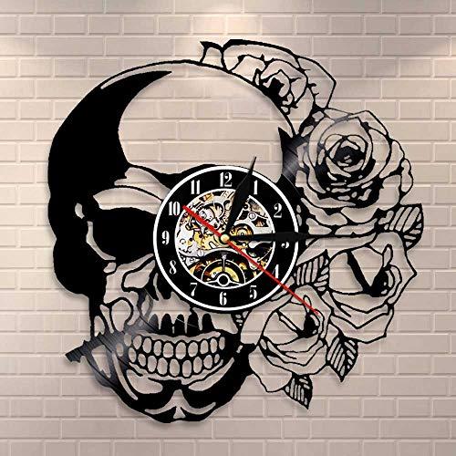 CVG Tattoo Totenkopf mit Rose Wandkunst Wanduhr Skeleton Skull Thorn Roses Schallplatte Wanduhr Gothic Home Decor Wanduhr Uhr