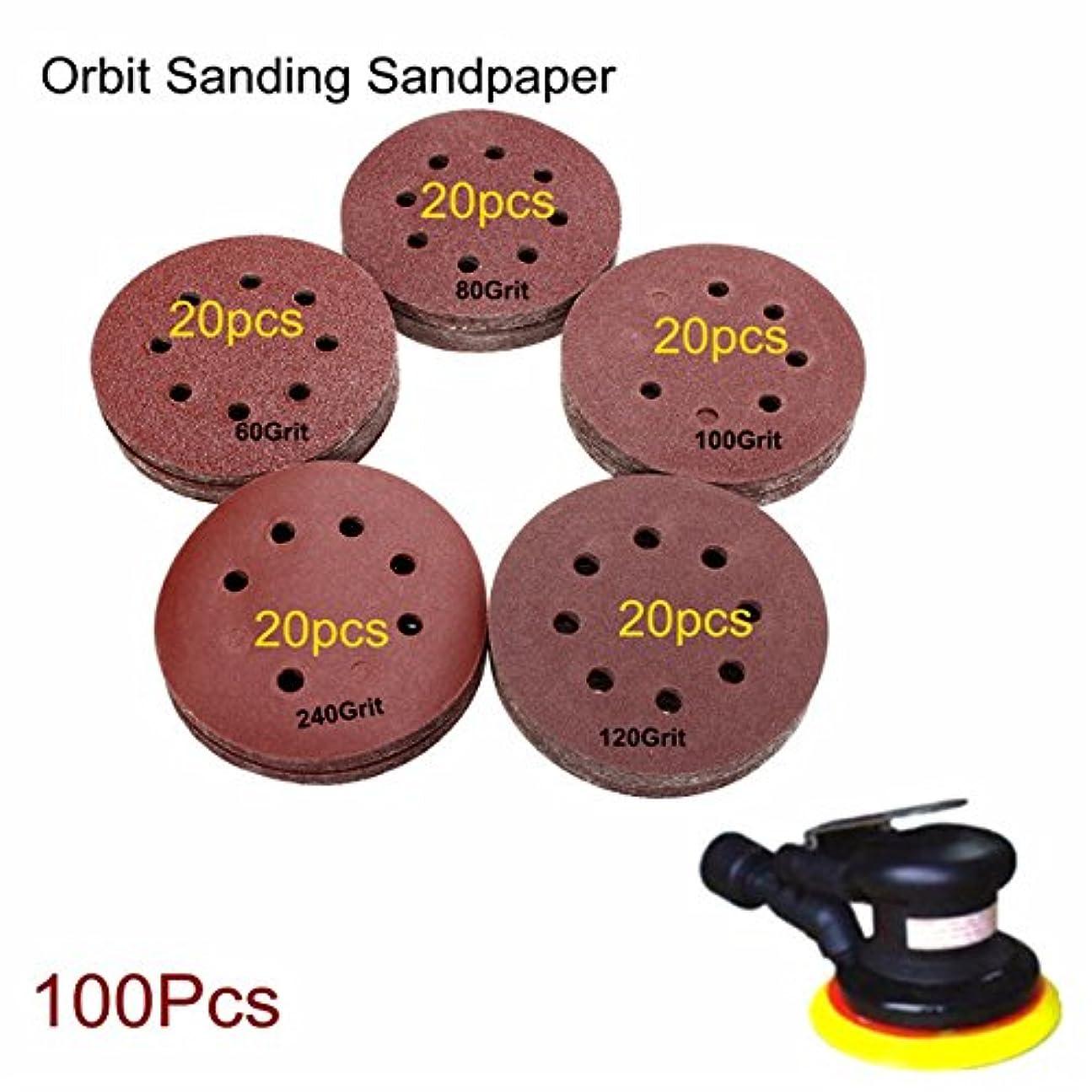鉛筆ストレスの多い指令Queenwind 100pcs 125mm 8 穴研磨砂ディスク60-240 グリットサンディング紙