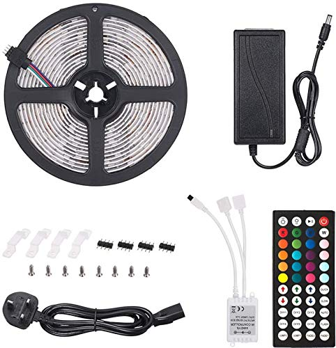 H/A Tira de luz LED 10m 300leds 5050 RGB SMD Color Cambio de la Tira de luz LED con 44 Teclas Control Remoto IP65 Impermeable, Cocina Inicio Decoraciones navideñas MENGN (Color : RGB, Size : 5M)
