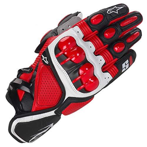 S1 Guantes de Cuero para Moto Anti-caída Antideslizante Respirable Guantes Llenos de Dedos para Equitación al Aire Libre, Equipamiento Profesional de Carreras,Red,L
