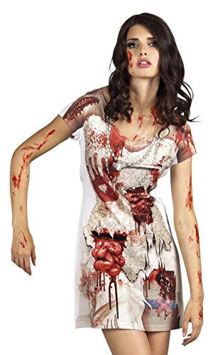 Halloweenia Damen Kostüm Shirt / 3D Photoshirt Fotorealistik Zombie Kleid, M, Mehrfarbig