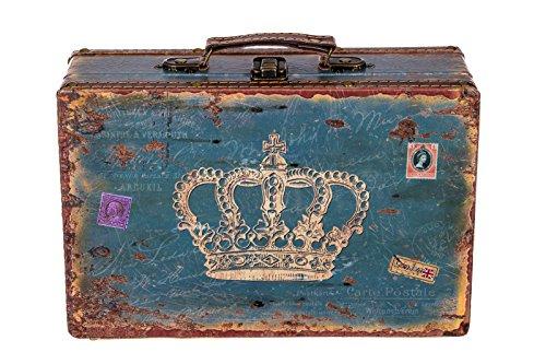 Truhe Kiste SJ 1287 Koffer, Kofferset, Holztruhe mit edlem Leder bezogen Größe L Blau 31cm