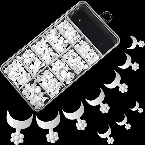 100 Pieces French Short Style False Nails 10 Sizes Finger Sticker Extension Tool Acrylic False Nail Tips with Case for DIY Nail Art Nail Salons, Transparent