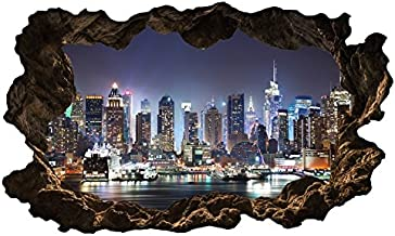 3D muurtattoo New York Skyline stad muurschildering muursticker zelfklevend muurmotief woonkamer muur sticker 11E610, muur...