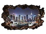 3D Wandtattoo New York Skyline Stadt Wandbild Wandsticker selbstklebend Wandmotiv Wohnzimmer Wand Aufkleber 11E610, Wandbild Größe E:ca. 168cmx98cm
