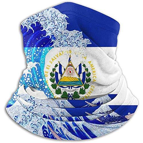 Linger In El Salvador Flag and Wave Off Kanagawa Neck Warmer Bufanda Polaina Mascarilla Bandanas para Polvo Clima frío Invierno al Aire Libre