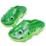 SHANGXIAN Children Beach Frog Slippers Summer Indoor/Outdoor Soft Bottom Little Kids Creative Flip Flops Toddler Girls Boys Baby Garden Shoes,Green,33