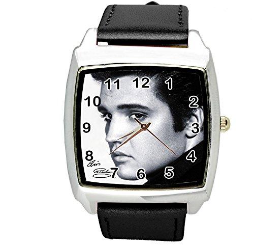 TAPORT® Unisex Uhr Analog Quarzwerk mit Leder Armband Elvis Presley E8 Schwarz Quadrant