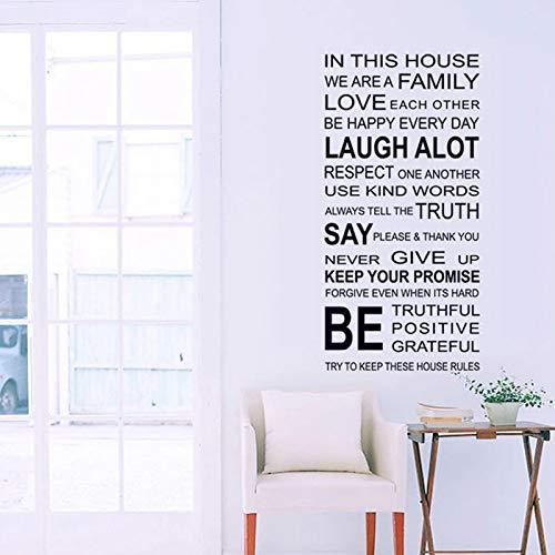 Reglas De La Casa Etiqueta De La Pared De La Familia Dormitorio Sala De Estar Fondo De Tv Decoración De Sofá Calcomanías De Arte De Pared