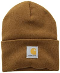 100% Acrylic Carhartt label sewn on front stretchable rib-knit fabric Hand wash only Imported