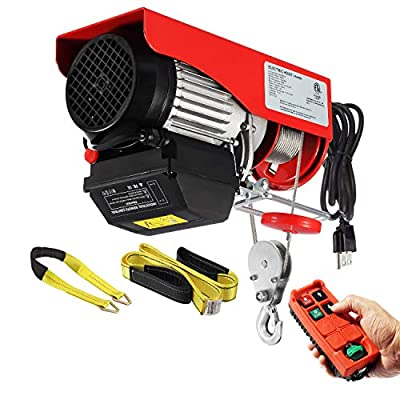 Partsam 880lbs Automatic Lift Electric Cable Hoist with Wireless Remote Control 110V Overhead Crane Garage Ceiling Pulley Winch w Towing Strap Sling, Electric Wire Rope Hoist, 38ft Lifting Height
