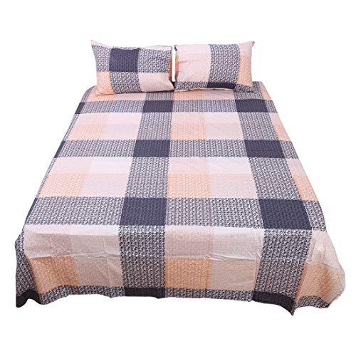 YeVhear - Juego de sábanas de 4 piezas, 100% algodón, sábana bajera ajustable y 2 fundas de almohada, talla reina # 3