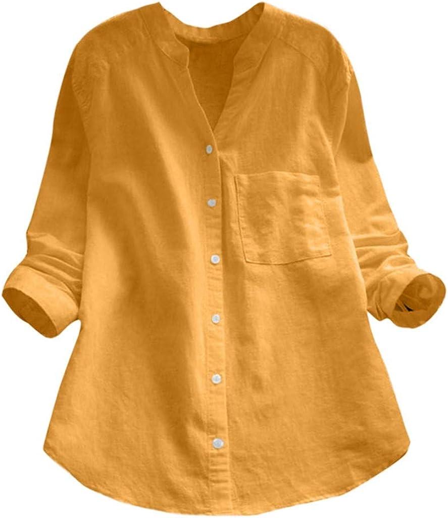 Malbaba Camisa de Manga Larga con Raya suelta Blusa sin Mangas con botones para Mujer, Mangas largas, por