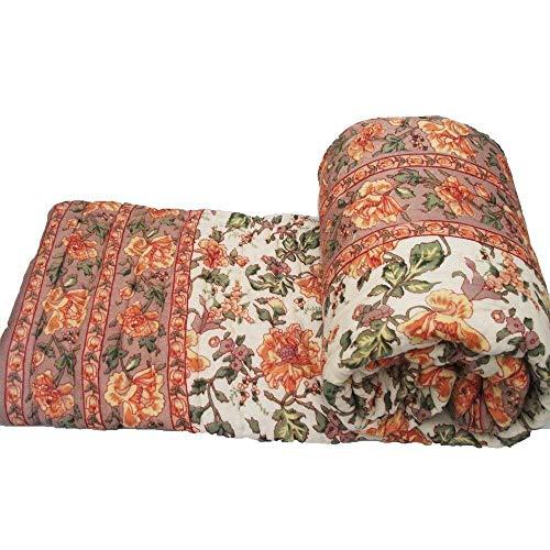 Crafts Jaipur Edredón de algodón indio hecho a mano Jaipuri Razai King Size Sanganeri Floral Impreso Algodón Cama Doble Colcha (Multicolor, 85' X 100') CJ_17