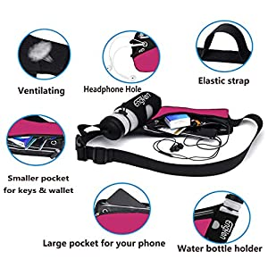 ENGYEN Fanny Pack with Water Bottle, Running Belt for Men Women, Slim Waist Bag for Travel Workout Hiking Hydration, Runners Pouch, Perfect Holder to carry Most Phone, Money, Key. - Red