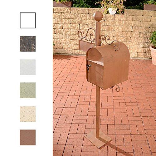 CLP Stand-Briefkasten Charlize I Antiker freistehender Briefkasten mit Namensschild I Briefkasten aus Eisen I erhältlich Antik Braun
