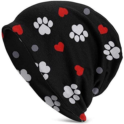 Speciale winkel casual beanie muts, paw prints en harten op zwarte hoed scullies mutsen voor motorfiets date, chemo hat Toboggan cap