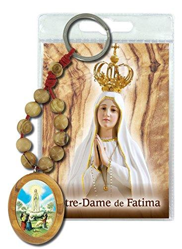 Llavero Virgen de Fátima con decenario en madera de olivo y oración en francés