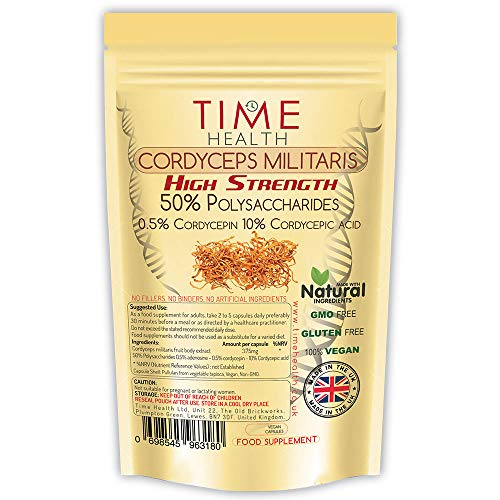 Cordyceps militaris High Strength 50% Polysaccharides / 10% Cordycepic Acid / 0.5% Cordycepin (60 Capsule Pouch)
