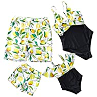 IFFEI Mommy and Me Swimsuit One Piece Lemon Printed V Neck Family Matching Swimwear