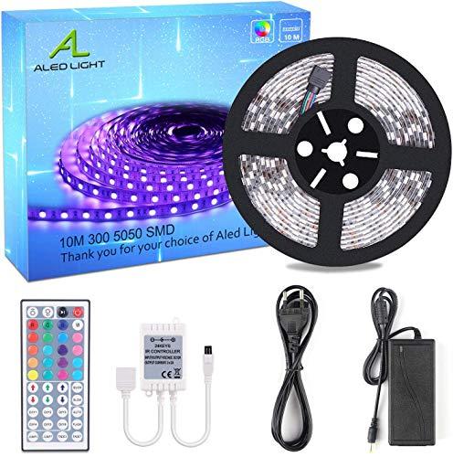10M Striscia LED, ALED LIGHT LED Strip / Nastri Led 10M RGB 5050 SMD 300 LEDs, 44 Telecomando Chiave + Alimentatore 24V + Ricevitore (Non Impermeabile)