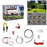 Tumbo Trolley Dog 150 ft Containment System - Stretching Coil Cable with Anti-Shock Bungee (Safer and Less tangles) Aerial Dog Tie Out