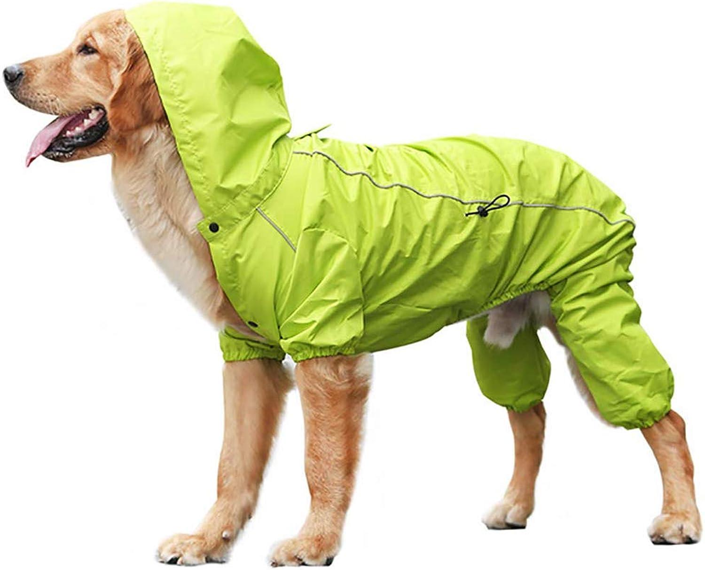Dog Hooded Raincoat, UltraLight Breathable 100% Waterproof Rain Jacket, Four Legs Rain Coats with Hood Collar Hole, for Small Medium Large Pet Dogs,Green,S