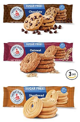 Voortman Sugar Free Cookies   Chocolate Chip Cookies   Shortbread Swirl   Oatmeal - BUNDLE 3 Pack - 8 OZ each
