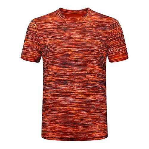 Xmiral T-Shirt Herren Lässige Atmungsaktive Herren-T-Shirts mit Rundkragen und Schnell Trocknender Kleidung T-Shirt Geschnittenes Shirt für Männer(Orange,M)
