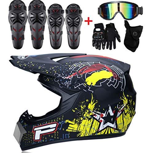 Guoguo Motocross para niños Casco Y Guantes Y Gafas Rodilleras, Coderas Cojines para niños Quad ATV Go Karting Helmet,B,M