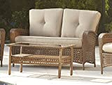 Cosco Outdoor Loveseat and Coffee Table, Amber Wicker and...