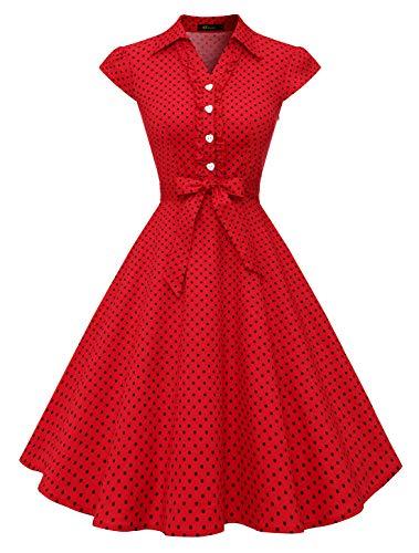 Wedtrend Vestido feminino anos 1950 retrô Rockabilly manga cavada vintage rodado, Redblackdot, Large