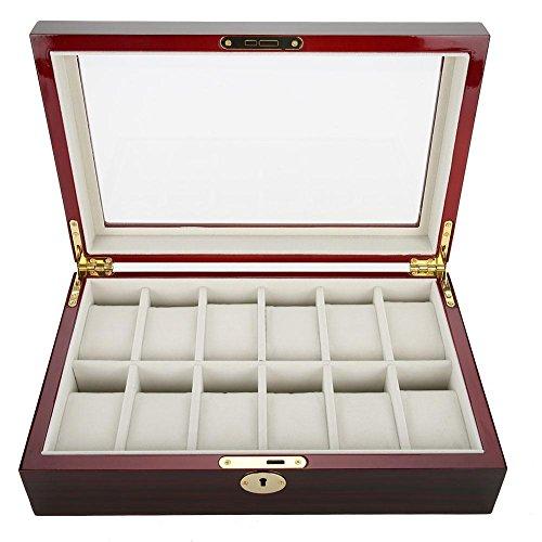 Horloge display box, 12 gridhouten vitrine opbergdoos, sieraden armband horloge bril organizer, bewaarkoffer met kussen glazen deksel en afsluitbare gesp voor mannen of vrouwen