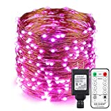 ErChen Copper Wire Led String Lights, Plug in 100ft 30M 300 Led Fairy Lights with RF Remote 8 Modes Timer Dimmable for Indoor Outdoor Christmas Bedroom Wedding (Pink)