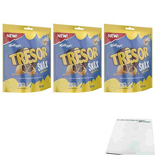 Kelloggs Tresor Snax Milk Choco 3er Pack (3x120g Beutel) + usy Block