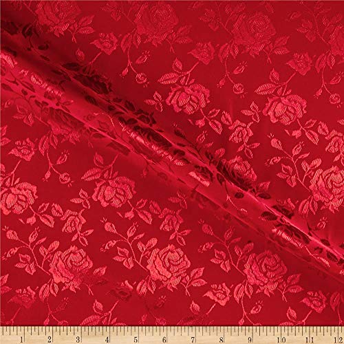 Ben Textiles Rose Satin Jaquard Red Fabric By The Yard