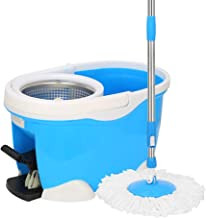 WZHZJ 360 Degree Rotating Household Mop Bucket Rotating Water Free Hand Wash Wet and Dry Dual Use Automatic Mop Lazy Mop Dry