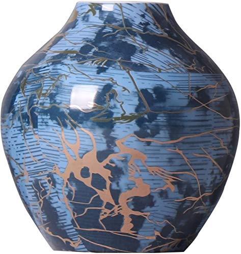 SDHENAILIAN Jarrón Florero Inicio Chino Gran Diálo con Vientre Grande Y Blanco Flor De Porcelana Azul Y Blanco Arreglo De Flores De Cerámica, Azulejos Azules A Mano Ornamentos Decorativos