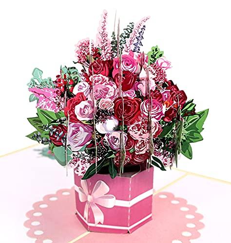 MOKIO® Pop-Up kartka z kwiatami, bukiet kwiatów z różami, kartka podarunkowa 3D na urodziny, jako bon lub prezent pieniężny, składana kartka z kopertą