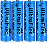 18650 Batería Recargable 9800 MAH Azul Litio BateríA Recargable De Iones De Litio 3.7v Pilas Recargables 18650 Alto Rendimiento BotóN De La BateríA Superior para Linterna (4 pcs)