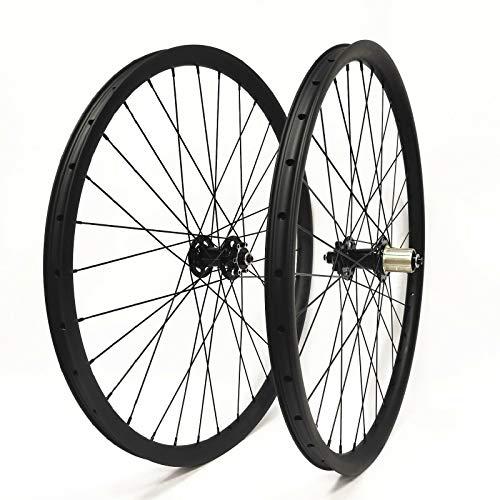 HULKWHEELS 27.5er 650B Mountain Bike MTB Carbon Wheelset Clincher Tubeless Ready 35mm Width Rim AM Disc Brake Wheels 11speed Front 15x110mm Rear 12x148mm Thru Axle